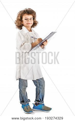 Young curly doctor writing in a notebook. White background.