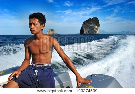 Young Man Of Andaman Speed Boat Worker