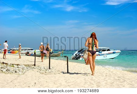 Tourist And The Andaman Island Beach