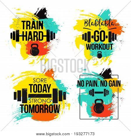 Gym and fitness motivation quote set. Inspirational text to keep going to the gym to train hard and reach one goal. Vector illustration on white background