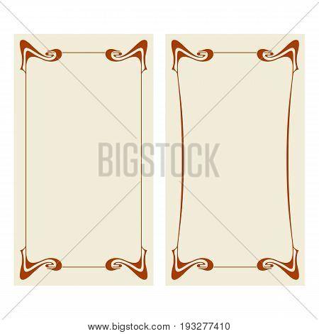 Vector Art Nouveau Invitation Cards.