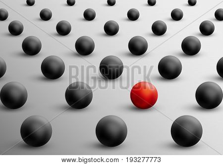 Unique red ball among black ones. Abstract leadership concept. Vector illustration. Business teamwork and success background