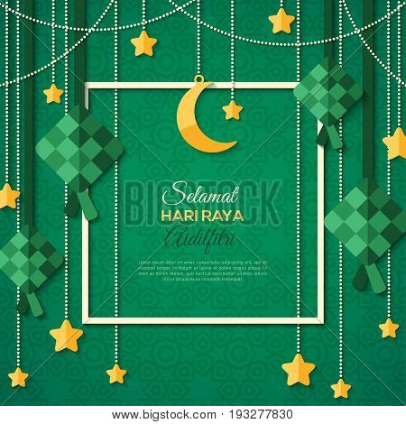 Selamat Hari Raya Aidilfitri greeting card with square frame. Vector illustration. Hanging ketupat and crescent with stars, garlands on green background. Caption: Fasting Day of Celebration