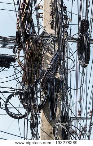 very massy Maze electricity cable in Thailand