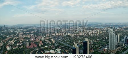 Istanbul Turkey - April 23 2017: Istanbul city view from Istanbul Sapphire skyscraper overlooking the Bosphorus before sunset Istanbul Turkey