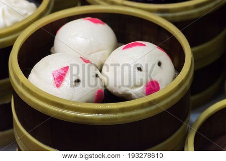 Cute Pig Baozi Chinese Steamed Buns