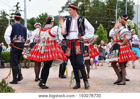Brno, Czech Republic June 25, 2017. Czech Traditional Feast. Tradition Folk Dancing And Entertainmen
