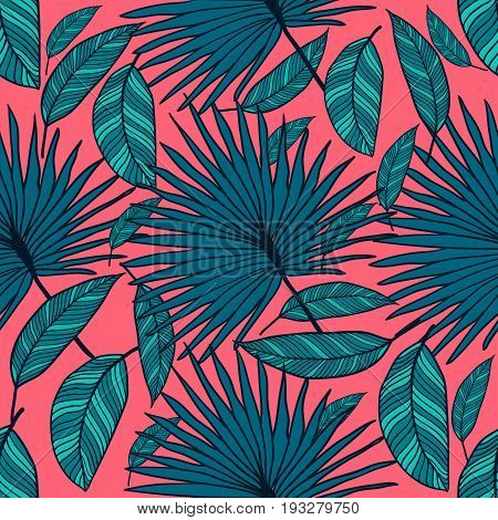 Seamless vector tropical pattern. Tropical color leaves, jungle leaves. Beautiful seamless vector fashionable chic abstract tropical pattern background