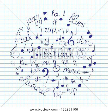 Hand Drawn Set of Music Symbols. Doodle Treble Clef Bass Clef Notes and Music Styles Arranged in a Circle on Copybook Sheet. Vector Illustration.