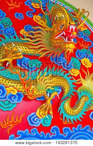 Chinese dragon sculpture sculpture art of asian style.