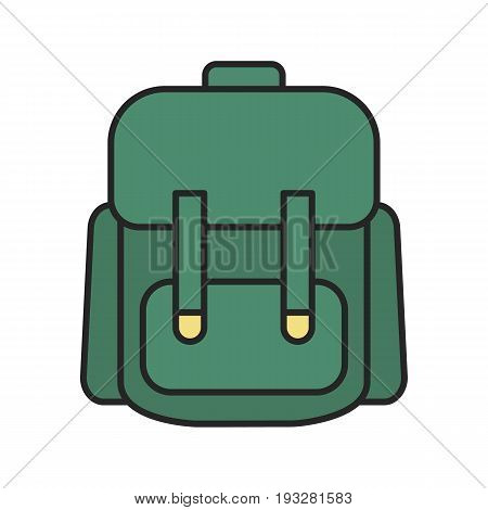Schoolbag color icon. Student's backpack. Isolated vector illustration