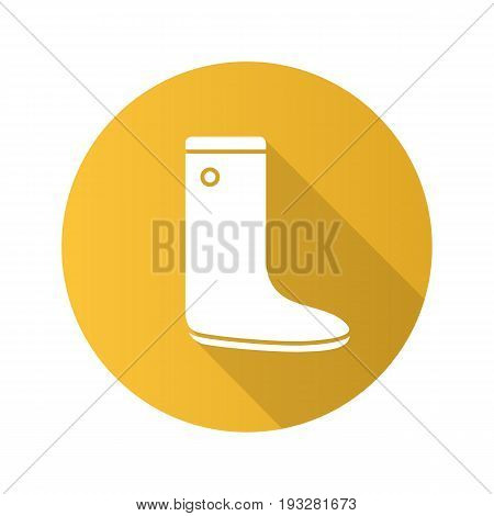 Watertight flat design long shadow glyph icon. Gumboot. Vector silhouette illustration