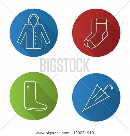 Autumn clothes flat linear long shadow icons set. Raincoat, warm socks, watertight, closed umbrella. Vector outline illustration
