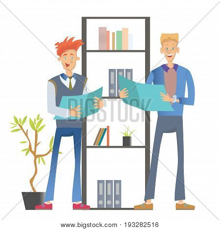 Two man office workers in casual clothes standing at the shelf with folders and holding documents. Business vector illustration, isolated on white background.