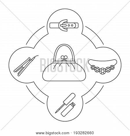 Woman's purse contents linear icons set. Leather belt, necklace, lip gloss, hair straightener. Isolated vector illustrations