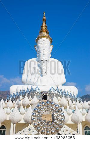 White Buddha at Wat Pra That Pha Son Keaw Temple of khao kor Petchaboon Thailand.