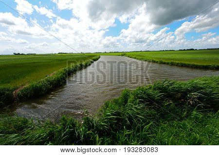 A canal passing through the historic rural countyside of Friesland, during a summer storm.