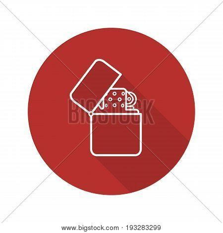 Gasoline lighter flat linear long shadow icon. Flip lighter. Vector outline symbol