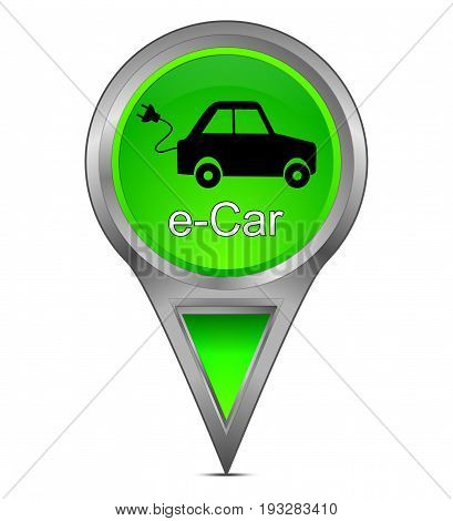 decorative green Map pointer with e-Car - 3d illustration