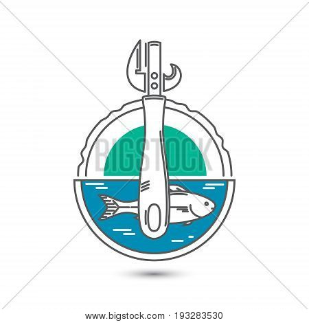 Vector stylized graphic image of a tin can a can opener and fish.