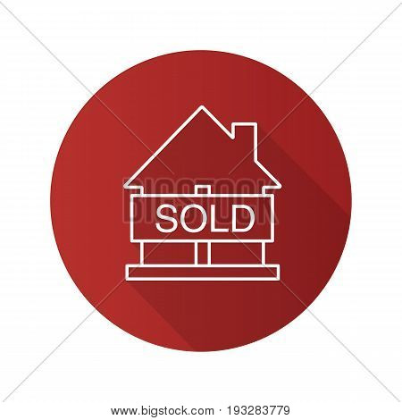 Sold house flat linear long shadow icon. Real estate purchase. House with sold sign. Vector outline symbol