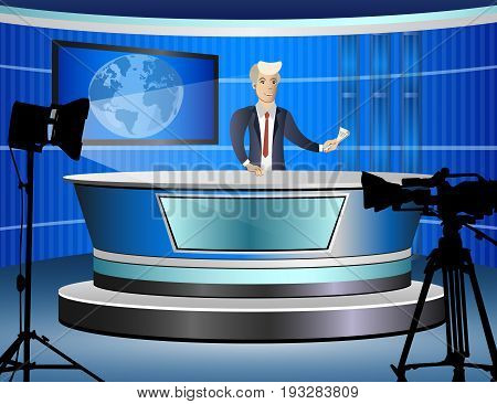 Journalist at work from tv studio. Vector illustration