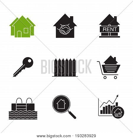 Real estate market glyph icons set. Silhouette symbols. Neighborhood, house for rent, key, fence, swimming pool, real estate deal, shopping cart with house inside. Vector isolated illustration