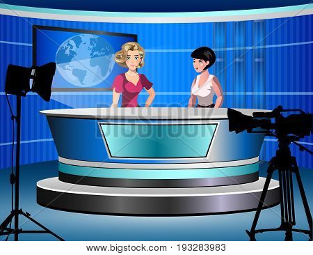 Beautiful young tv newscaster two woman reporting tv news sitting in a studio