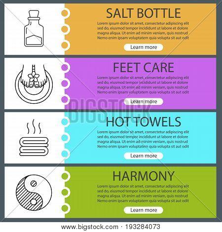 Spa salon web banner templates set. Salt bottle, woman's feet, towels, yin yang sign. Website color menu items with linear icons. Vector headers design concepts