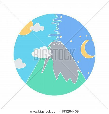 Volcano vector doodle icon Hand-drawn icon design of natural disaster object isolated on the white background vector illustration