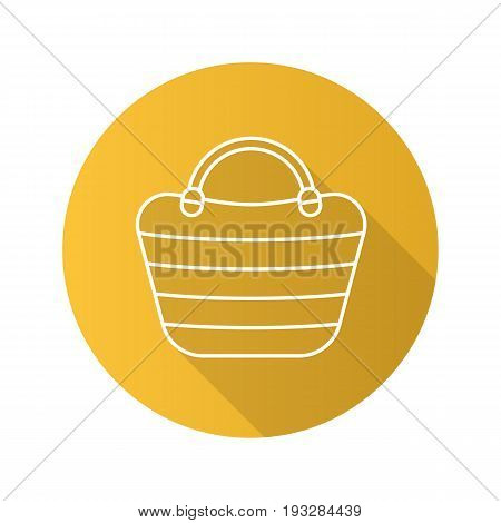 Beach bag flat linear long shadow icon. Beach tote. Vector outline symbol