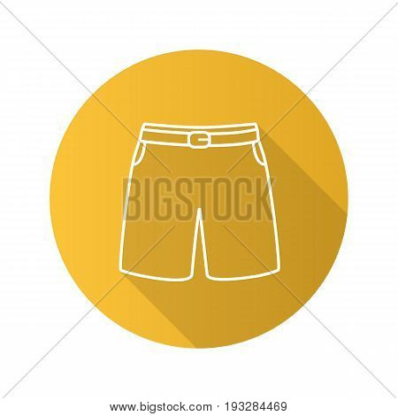 Swimming trunks flat linear long shadow icon. Sport shorts. Vector outline symbol
