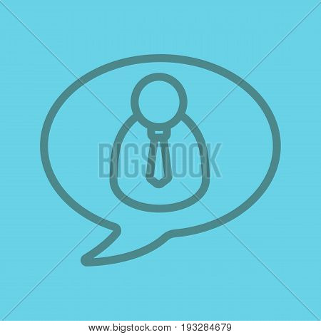 Conversation with boss linear icon. Chat box with businessman inside. Thin line outline symbols on color background. Vector illustration