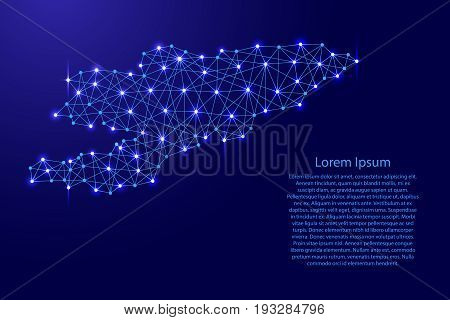 Map of Kyrgyzstan from polygonal blue lines and glowing stars vector illustration