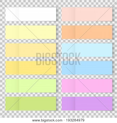 Vector colorful office bookmarks or sticker note paper isolated. Set of sticky paper or bookmarkers with shadow isolated on a transparent background. Vector yellow post note for your design