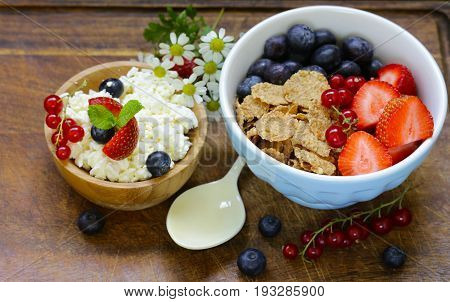 Healthy breakfast cottage cheese and granola with berries