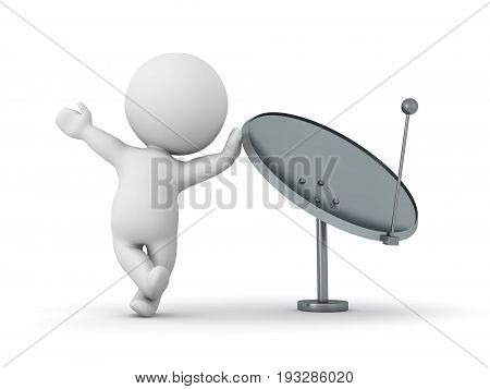 3D Character Leaning On Parabolic Antenna