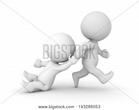 3D Character Being Dragged By His Arm While He's Almost Lying On The Floor