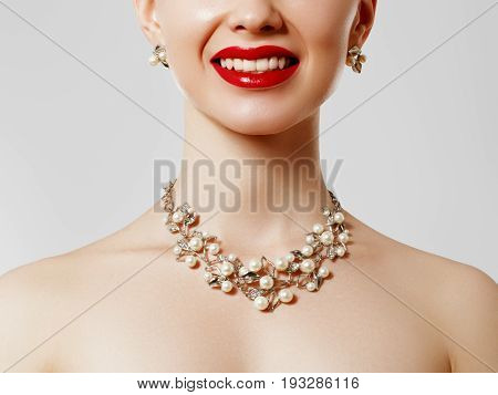 Beautiful Woman With Diamond Necklace. Young Beauty Model With Diamond Pendant And Earrings. Jewelle