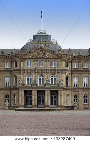Neues Schloss (New Castle). Palace of the 18th century in baroque style in Germany Stuttgart