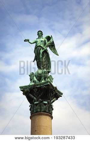 goddess Concordia on top of the King Wilhelm Jubilee Column( Victory Column) in the city center Stuttgart Germany