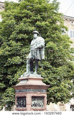 Statue of Christoph Duke of Wuerttemberg on Caste Square (Schlossplatz) Stuttgart Germany