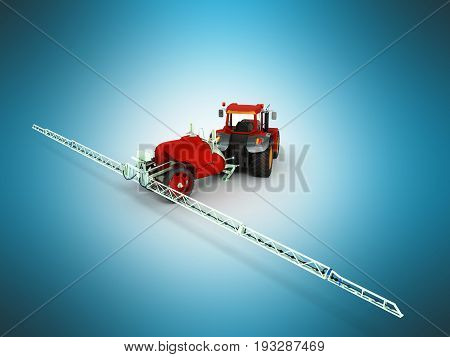 Watering Of Crops By Tractor 3D Render On Blue Background