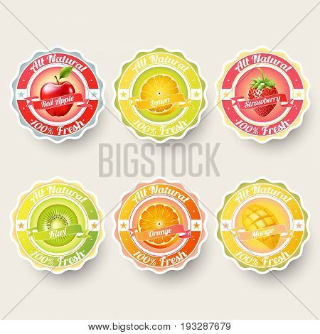 Set of orange, lemon, strawberry, kiwi, apple, mango juice,smoothie, milk, cocktail and fresh labels splash. sticker, advertisement concept vector illustration.