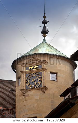 tower of the Old Castle (10th century) in Stuttgart.
