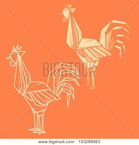Set vector simple illustration paper origami and contour drawing of rooster.
