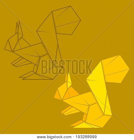 Set vector simple illustration paper origami and contour drawing of squirrel.
