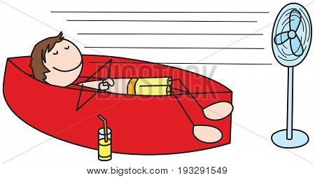 Cartoon illustration of a boy laying on an inflatable bed and cooling with a fan