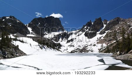 Emerald Lake in spring snow and blue sky, Colorado