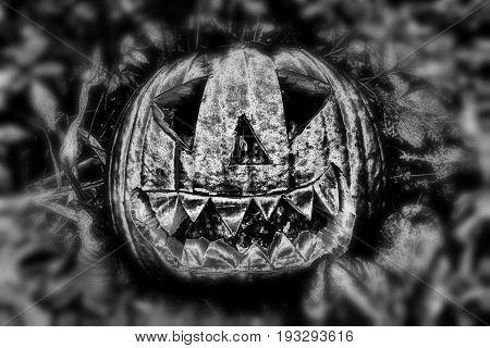 Illuminated monochrome spooky black and white Halloween pumpkin lantern